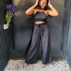 Two-Piece Black Crop Top and Palazzo Pant Set